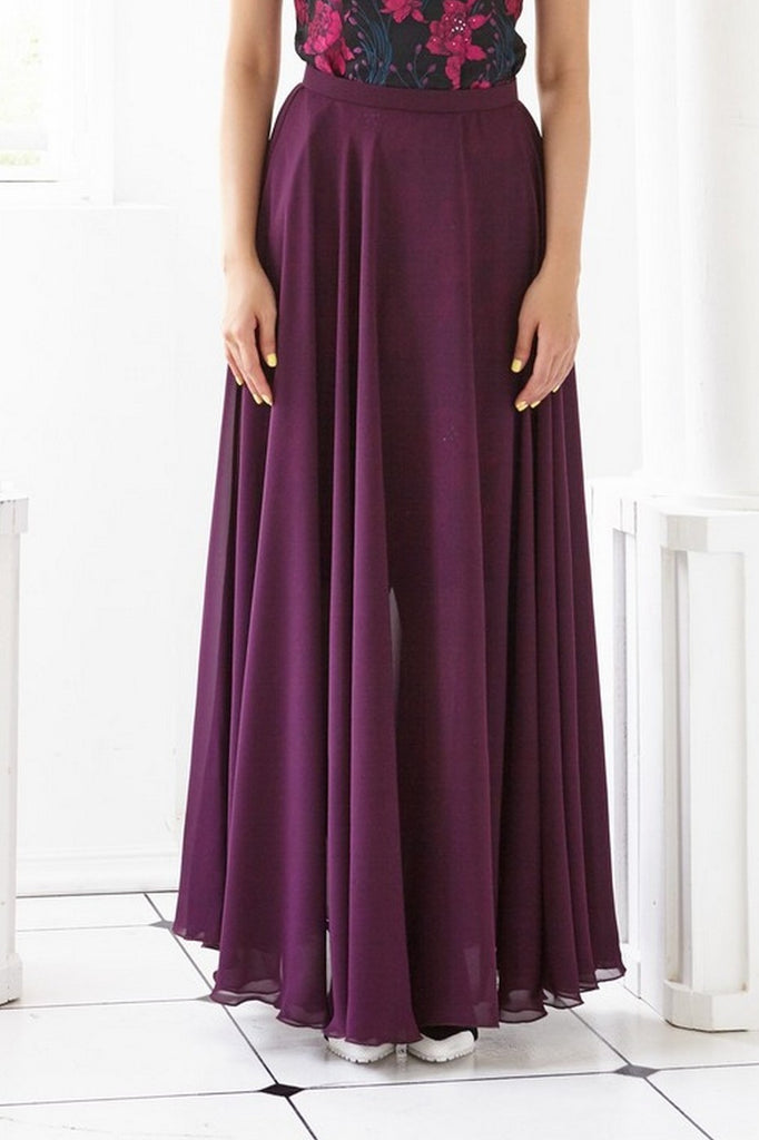 Pre-Order DARK PURPLE CHIFFON - LONG SKIRT - DARK PURPLE