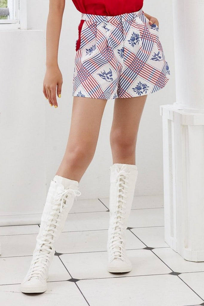 Pre-Order YAN ZI PRINTED COTTON - SHORTS WITH SIDE POCKETS - MULTI