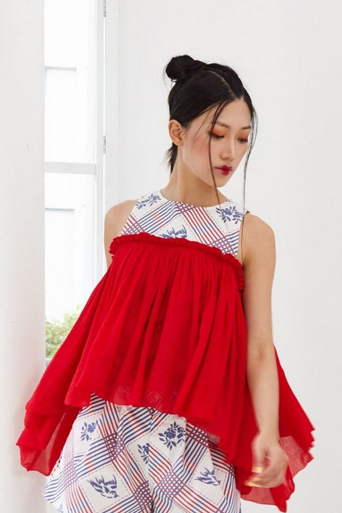Pre-Order YAN ZI PRINTED COTTON WITH RED GATHERED CHIFFON - COLD SHOULDER TOP WITH GATHERED CHEST SHAWL - MULTI