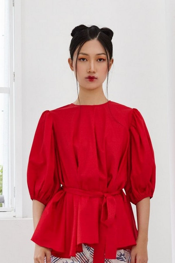 Pre-Order RED COTTON - OVERSIZED FLARE TOP WITH GATHERED SLEEVE AND BELT - RED