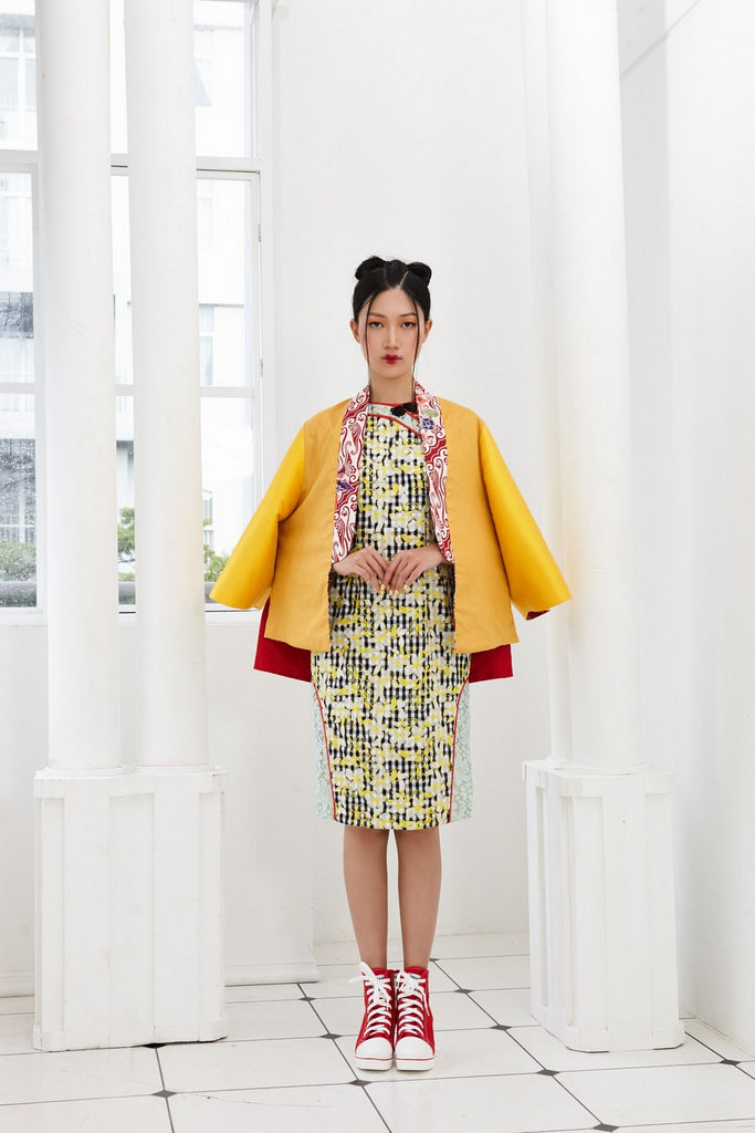 Pre-Order YELLOW FLORAL EMBROIDERY WITH BLACK AND WHITE CHECKS - ITALIAN COTTON - CHEONGSAM - MULTI