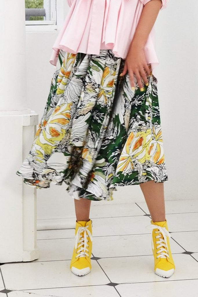 Pre-Order GREEN, BLACK AND YELLOW FLORAL PRINTED POLY SATIN - WRAP SKIRT - MULTI