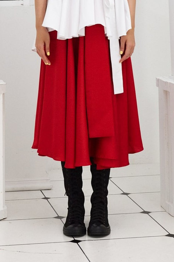 Pre- Order RED SATIN - WRAP SKIRT - RED