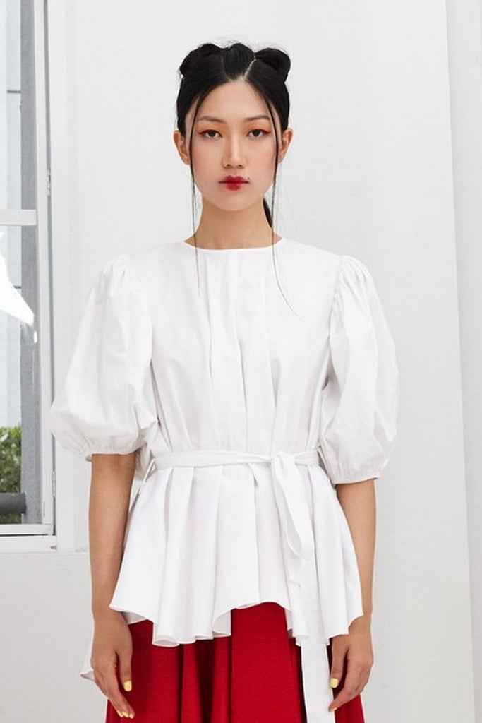 Pre- order WHITE COTTON - OVERSIZED FLARE TOP WITH GATHERED SLEEVE AND BELT - WHITE