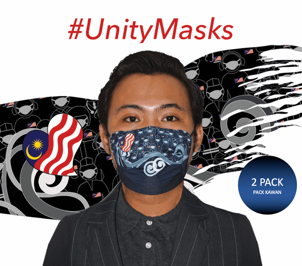 #UnityMasks - PACK KAWAN (2 Pack: Black  Frontliner  & Malaysian Flag Reusable Face Masks)