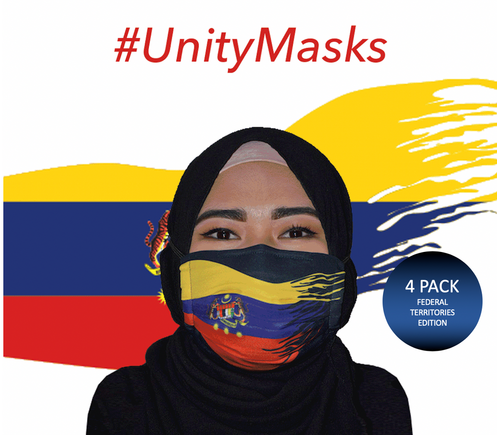 #UnityMasks - Federal Territories Edition Reusable Face Masks (4 Pack: Federal Territories Flag, Malaysian Flag, Blue & Black Frontliner Flags)