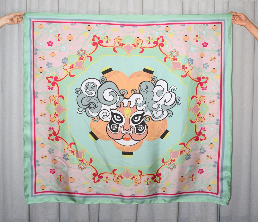OPERA FACE SILK SCARF - MINT AND CREAM