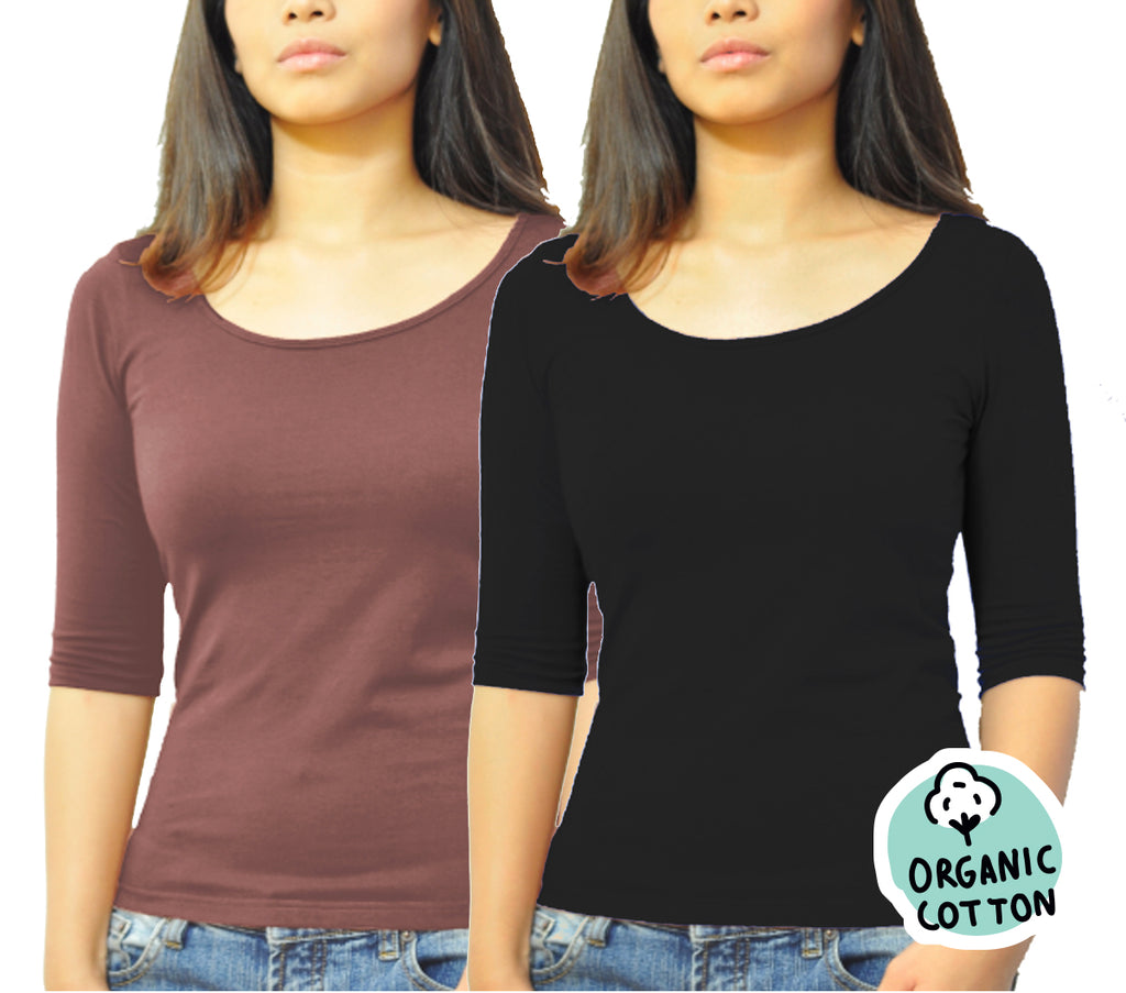 ORGANIC COTTON 3/4 SLEEVE ROUND NECK TOP PACK OF 2 (BLACK&BROWN)