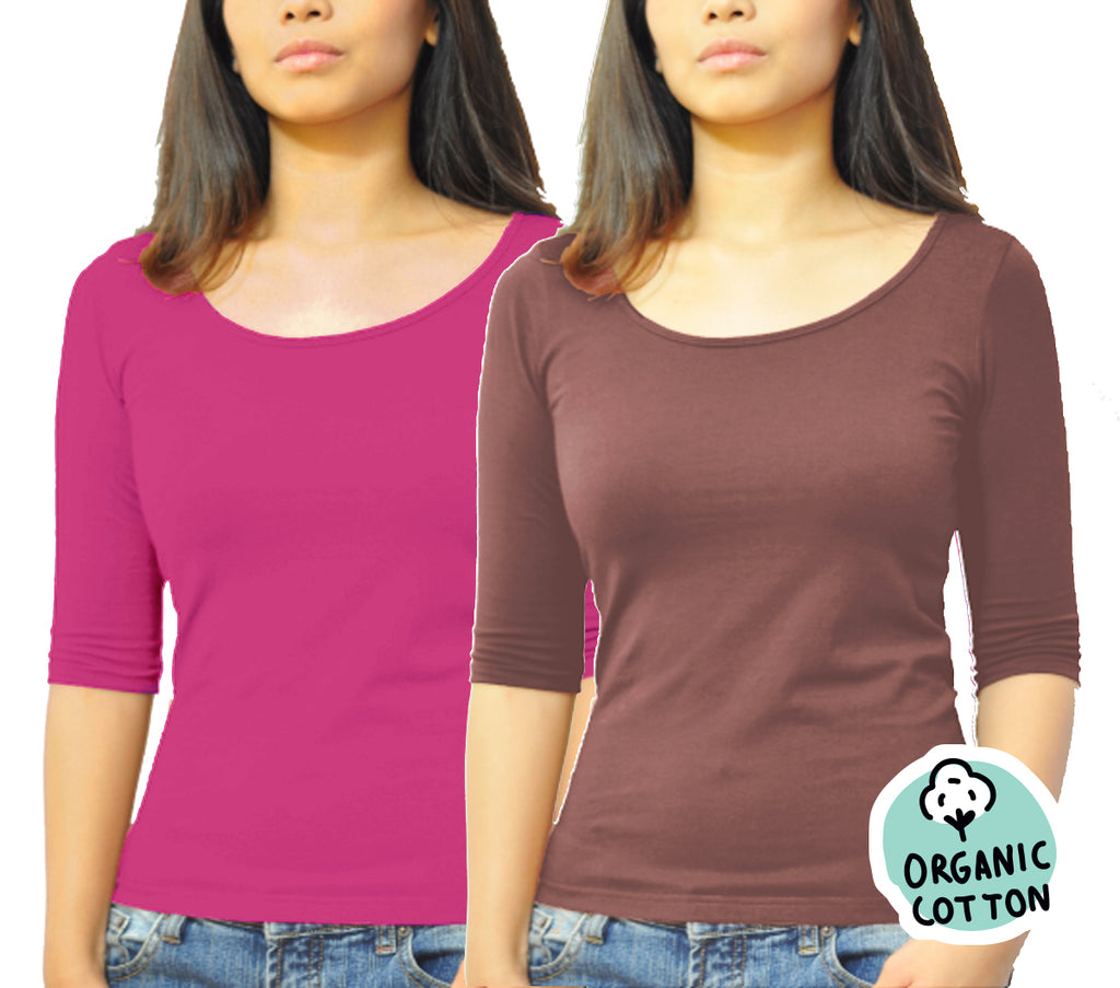 ORGANIC COTTON 3/4 SLEEVE ROUND NECK TOP PACK OF 2 (BROWN&FUCHSIA)