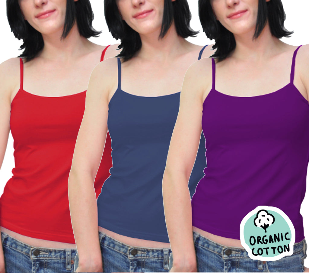 ORGANIC COTTON BASIC CAMISOLE TOP PACK OF 3 (NAVY/PURPLE/RED)