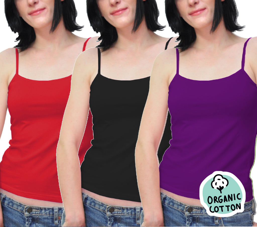 ORGANIC COTTON BASIC CAMISOLE TOP PACK OF 3 (BLACK/PURPLE/RED)