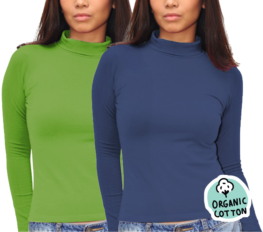 ORGANIC COTTON LONG SLEEVE TURTLE NECK PACK OF 2 (GREEN&NAVY)