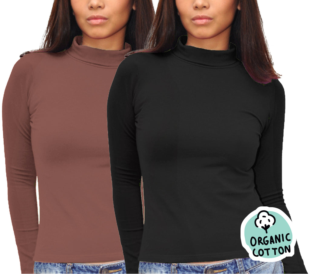 ORGANIC COTTON LONG SLEEVE TURTLE NECK PACK OF 2 (BLACK&BROWN)