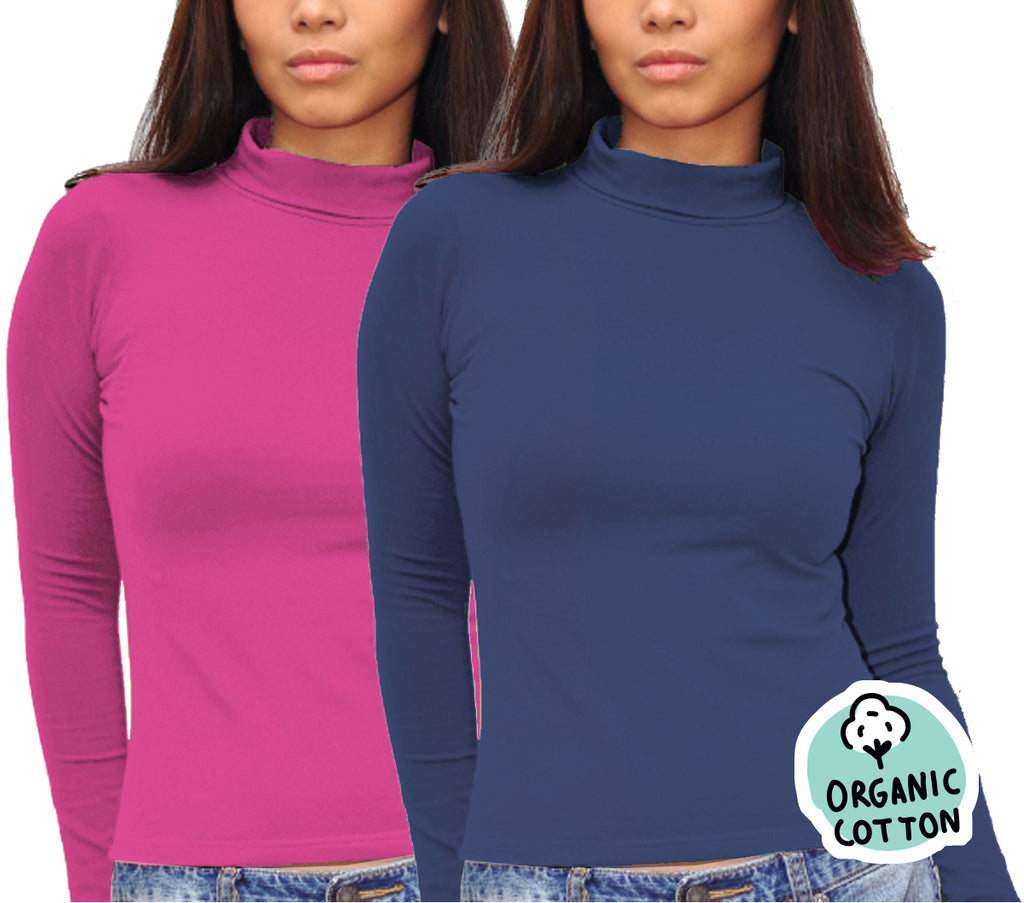 ORGANIC COTTON LONG SLEEVE TURTLE NECK TOP PACK OF 2 (NAVY&FUCHSIA)