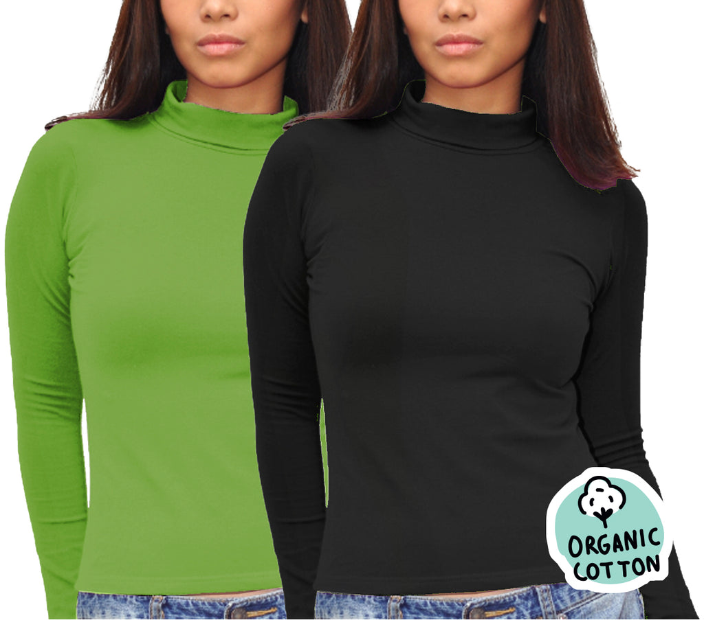 ORGANIC COTTON LONG SLEEVE TURTLE NECK TOP PACK OF 2 (BLACK&GREEN)