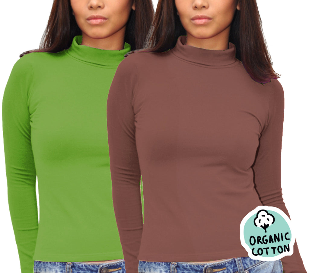 ORGANIC COTTON LONG SLEEVE TURTLE NECK TOP PACK OF 2 (BROWN&GREEN)