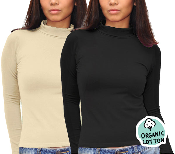 ORGANIC COTTON LONG SLEEVE TURTLE NECK PACK OF 2 (BLACK&NUDE)