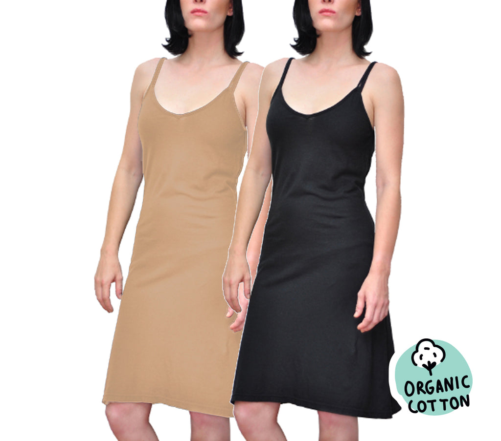 ORGANIC COTTON SLIP DRESS PACK OF 2 (BLACK&NUDE)