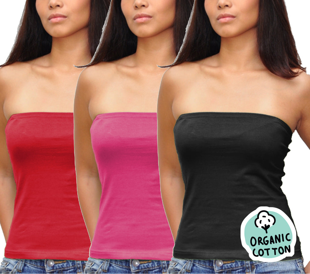 ORGANIC COTTON BASIC LONG TUBE TOP PACK OF 3 (BLACK/FUCHSIA/RED)