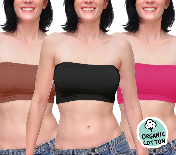 ORGANIC COTTON BASIC SHORT TUBE TOP PACK OF 3 (BLACK/BROWN/FUCHSIA)
