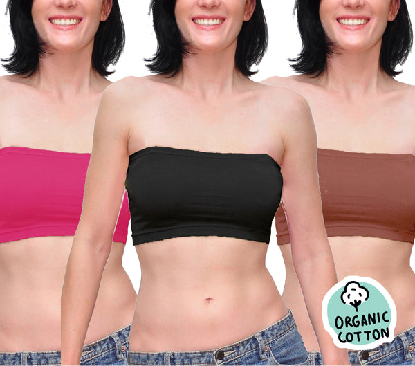 ORGANIC COTTON BASIC SHORT TUBE TOP PACK OF 3 (BLACK/RED/BROWN)