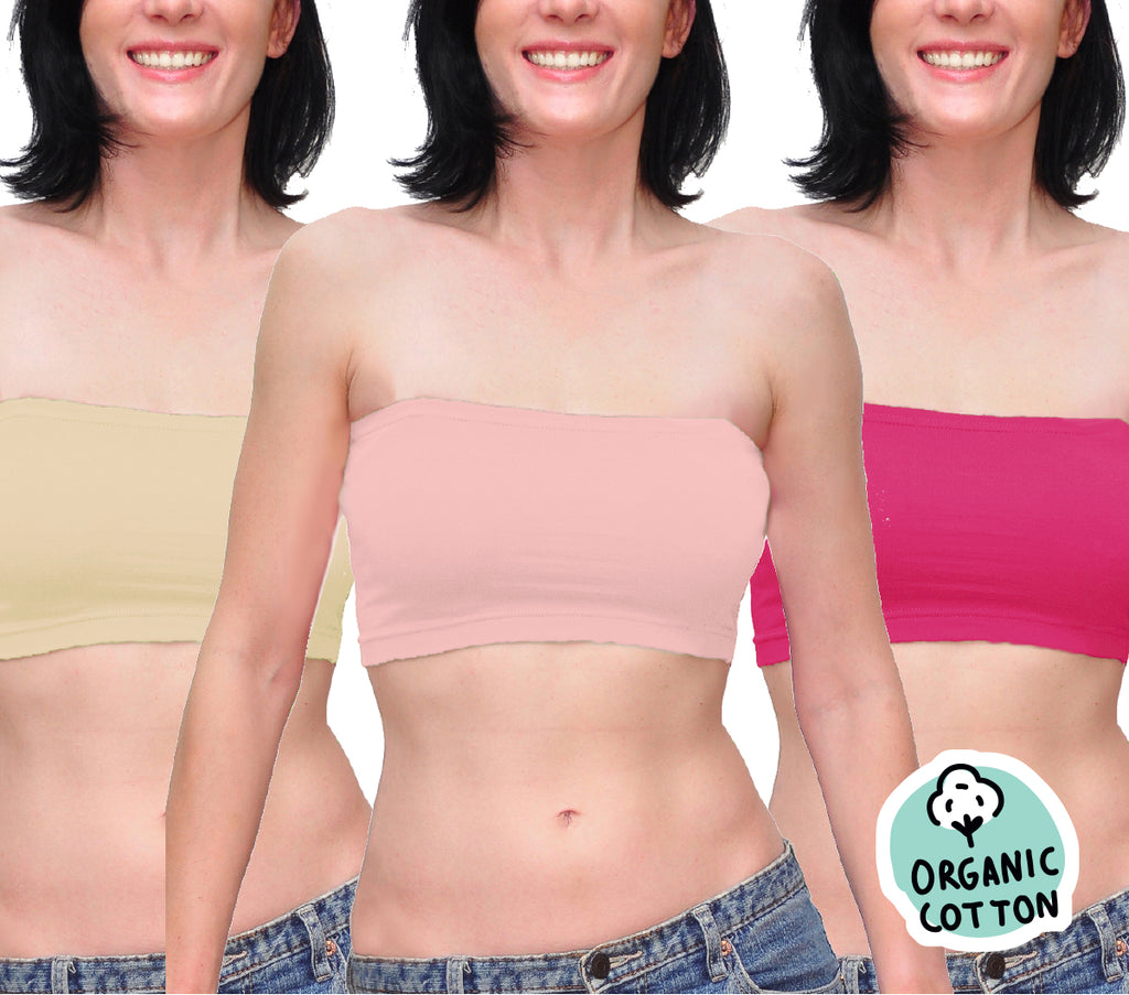 ORGANIC COTTON BASIC SHORT TUBE TOP PACK OF 3 (NUDE/FUCHSIA/PINK)