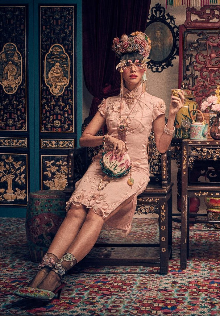 LIGHT PINK LACE WITH CREAM LINING - CLASSIC CHEONGSAM WITH SIDE SLITS - PINK - Melinda Looi - Official Website