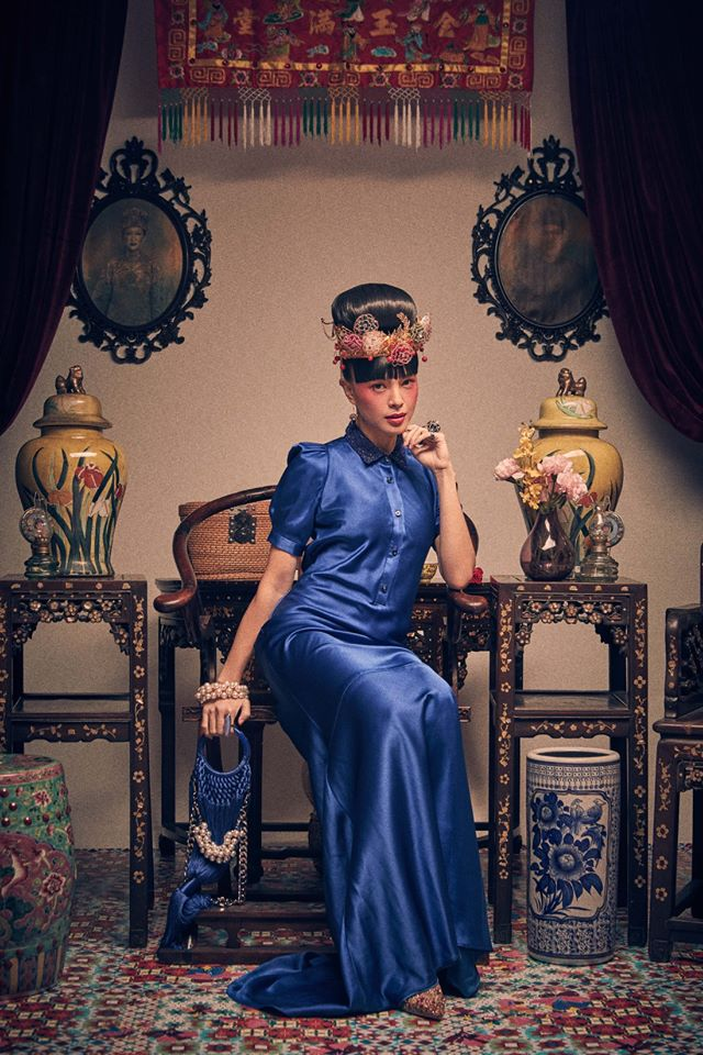 DARK BLUE SATIN WITH SEQUINED COLLAR - BIAS CUT GOWN WITH SHIRT COLLAR - ELECTRIC BLUE - Melinda Looi - Official Website