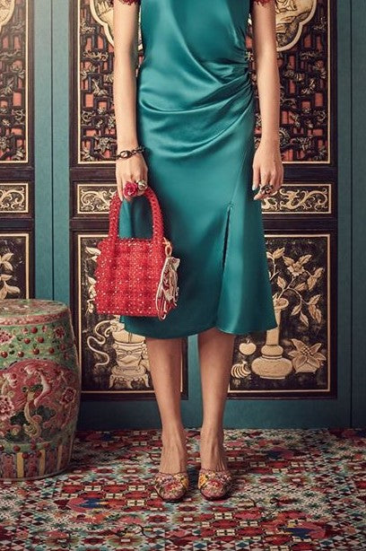 RED BEADED - BASKET BAG WITH BUTTERFLY PATCH - RED - Melinda Looi - Official Website
