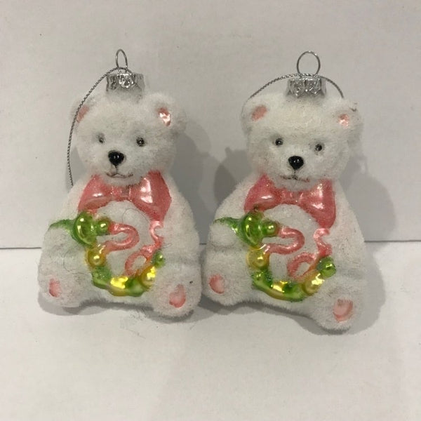 2x Christmas Teddy bear ornement