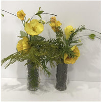 Lot of 2 artificial flowers with vase