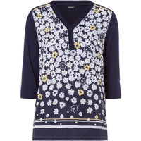 OLSEN Daisy Print Long Sleeve Tunic Top-11103551