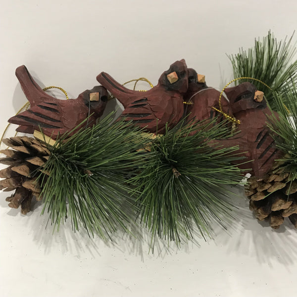 Lot of 4 wood bird Christmas Ornament