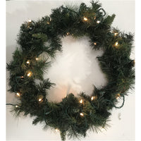 Christmas artificial fir wreath with light 24''