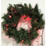 Christmas fir wreath with red light natural look 20''