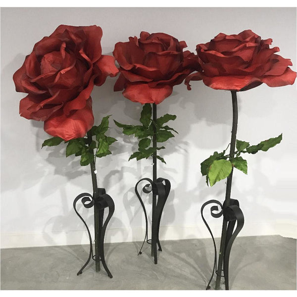 Oversized Large Silk Rose Bloom w/Removable Stem - Red