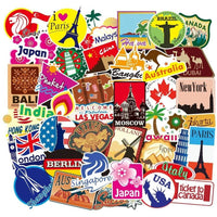 100pcs World Famous Tourism Country & Regions Logo Waterproof Stickers