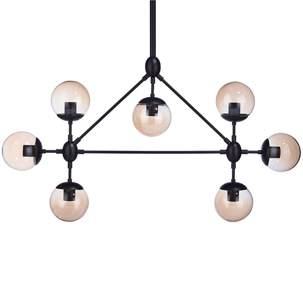 Bazz Pendant - 7 Lights - Glass Spheres - Vintage/Modern/Industrial - Black - The Liquidation Club