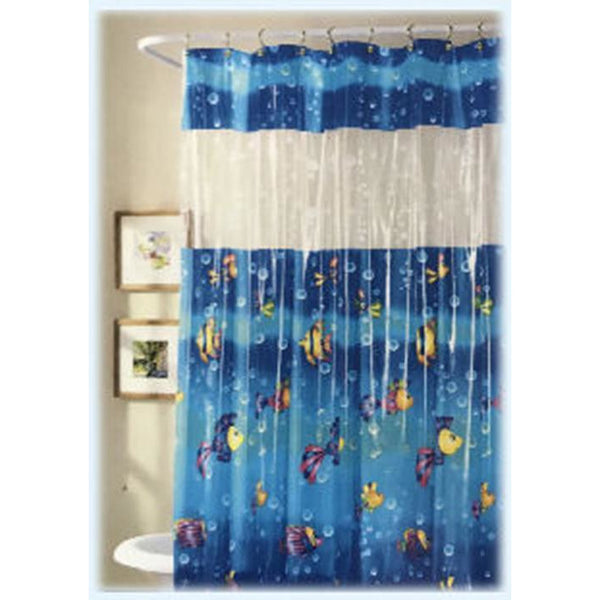 Vinyl 70 X 72 in Shower Curtain FISH Under the SEA Waterproof Bathroom Decor - The Liquidation Club