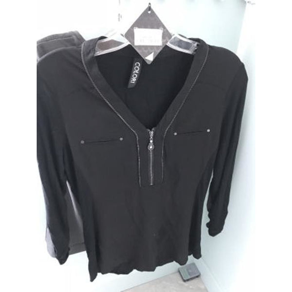 Brand New Colori Black long Sleeve Blouse-Colori-SMALL - The Liquidation Club