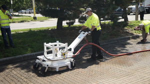 TYPHOON PAVEMENT MAINTENANCE SOLUTIONS consist of Two Products featuring the TYPHOON Permeable Joint Excavator and PAVEVAC Pavement Surface Vacuum for a complete PICP (Permeable Interlocking Concrete Pavement) Restoration System.