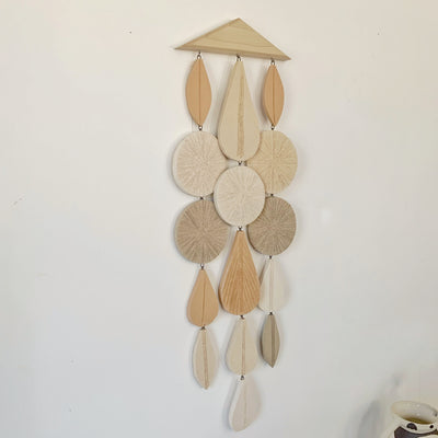 Long Wall hanging double circle with oak wood hanger