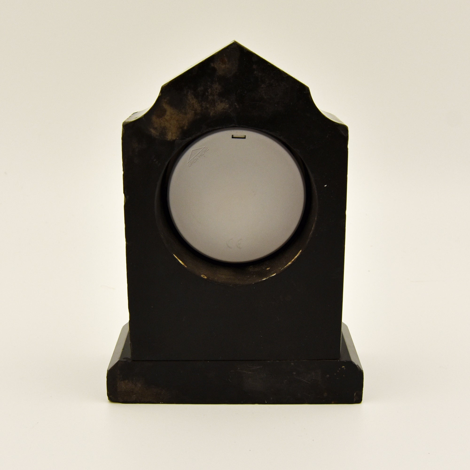 BLACK MARBLE MINIATURE CLOCK CASE WITH NEW QUARTZ INSERT