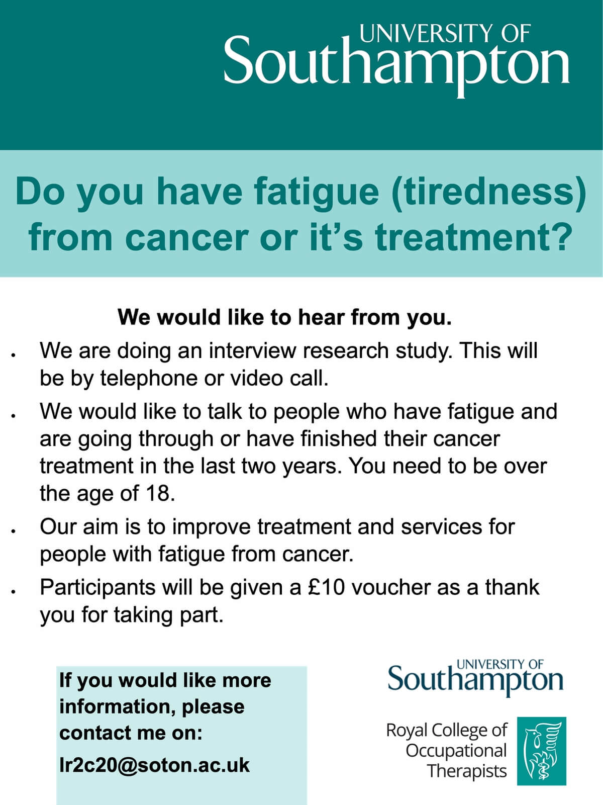 Cancer-Related Fatigue Research Study Flyer