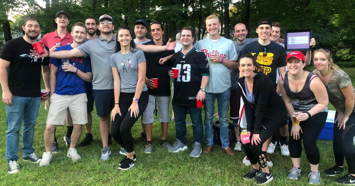 Testicular cancer survivor Joey Berardi with friends