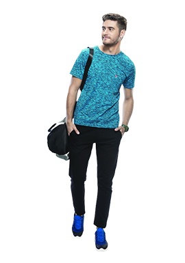 Buy Blue Round Neck T-shirt For Men Online