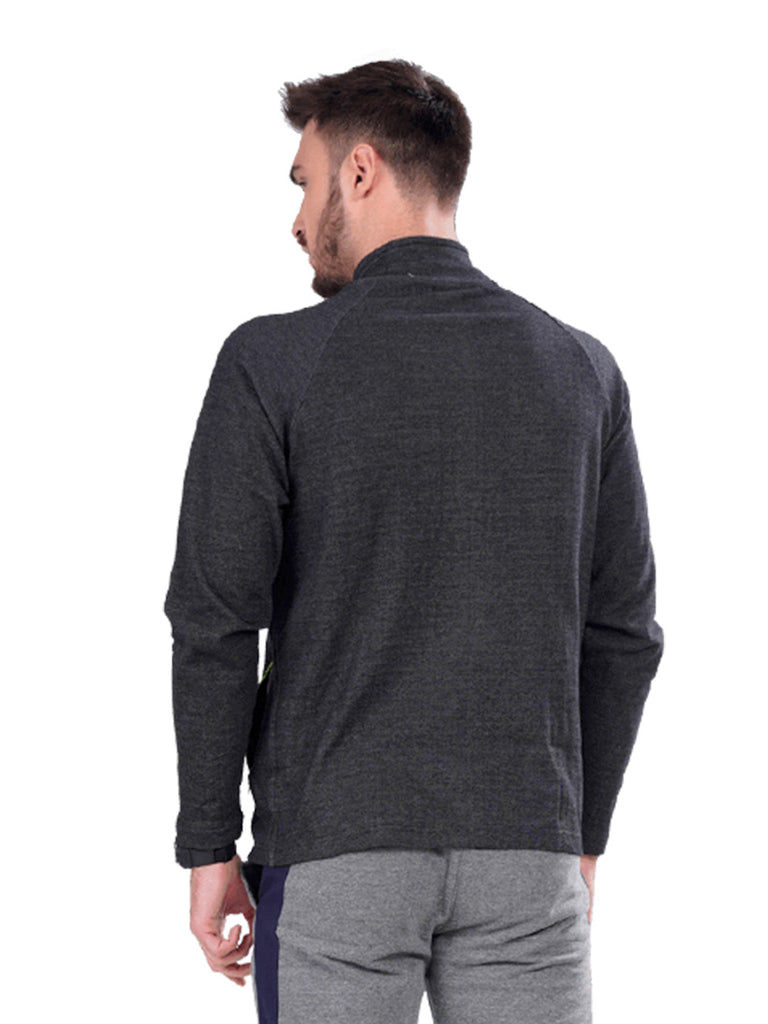 Buy Dark Grey Jacket With Dual Zipper Pocket For Men Online