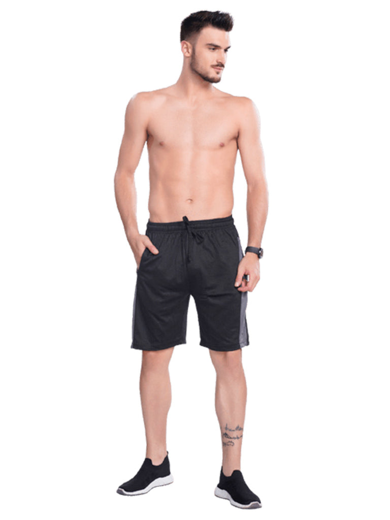 Buy Black Shorts With Contrast Panel For Men Online