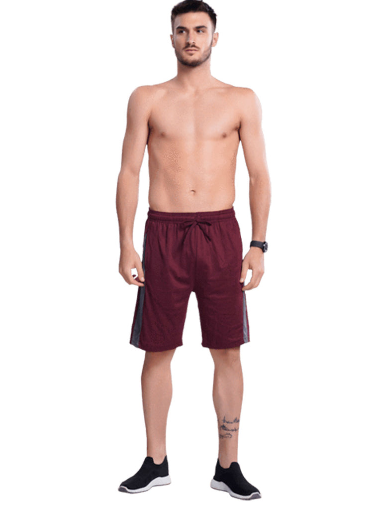 Buy Maroon Shorts With Contrast Panel For Men Online