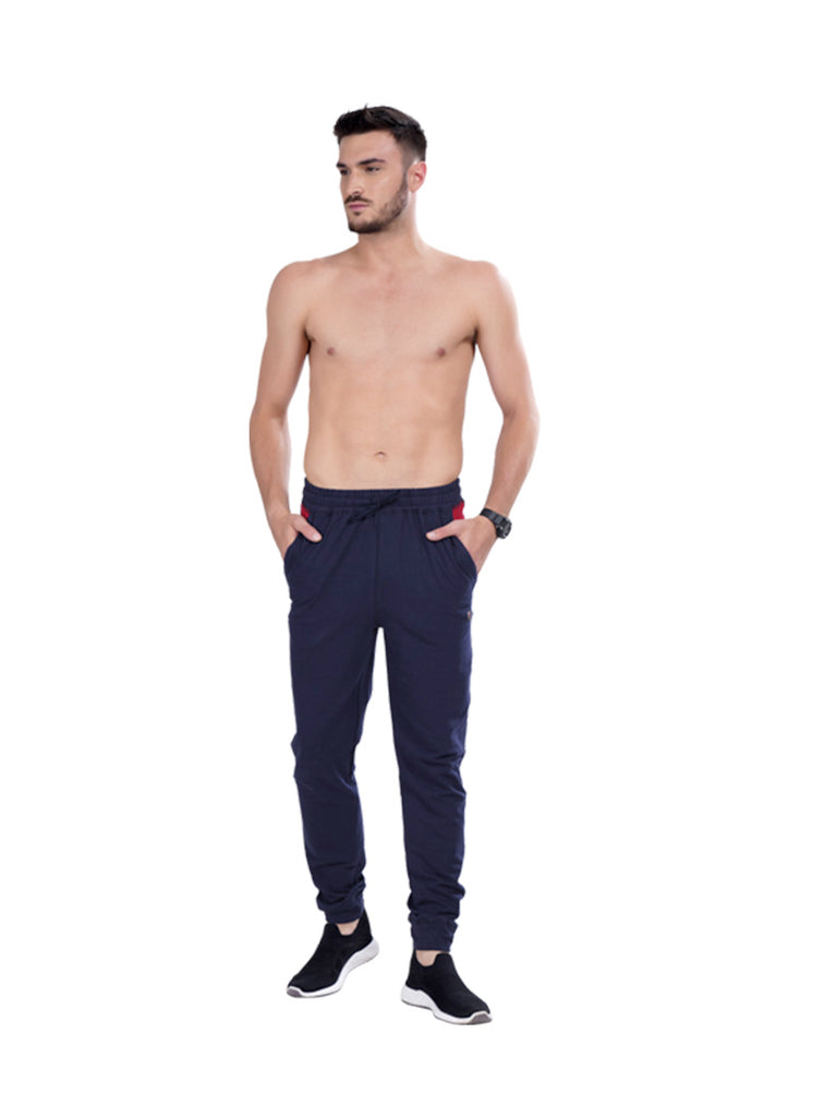 Buy Navy Solid Joggers For Men Online